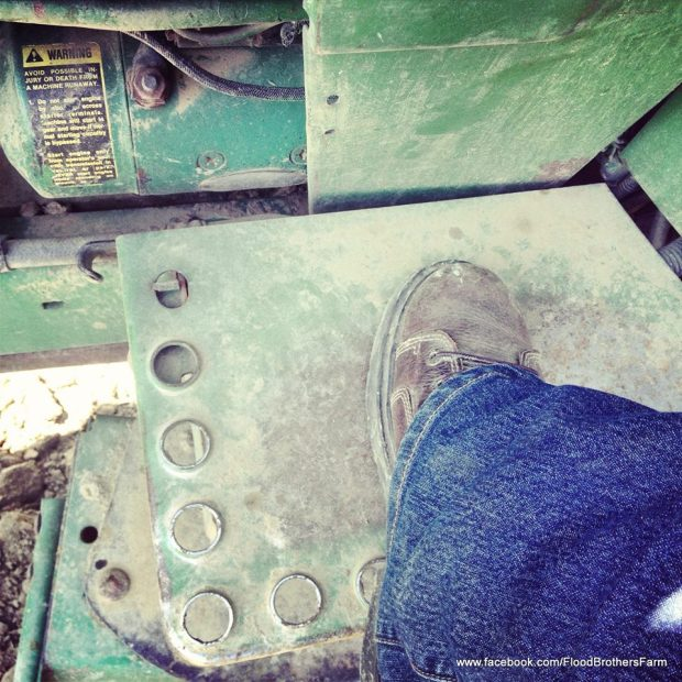 One foot in front of the other...whether you are climbing hills, or climbing into a tractor's seat.